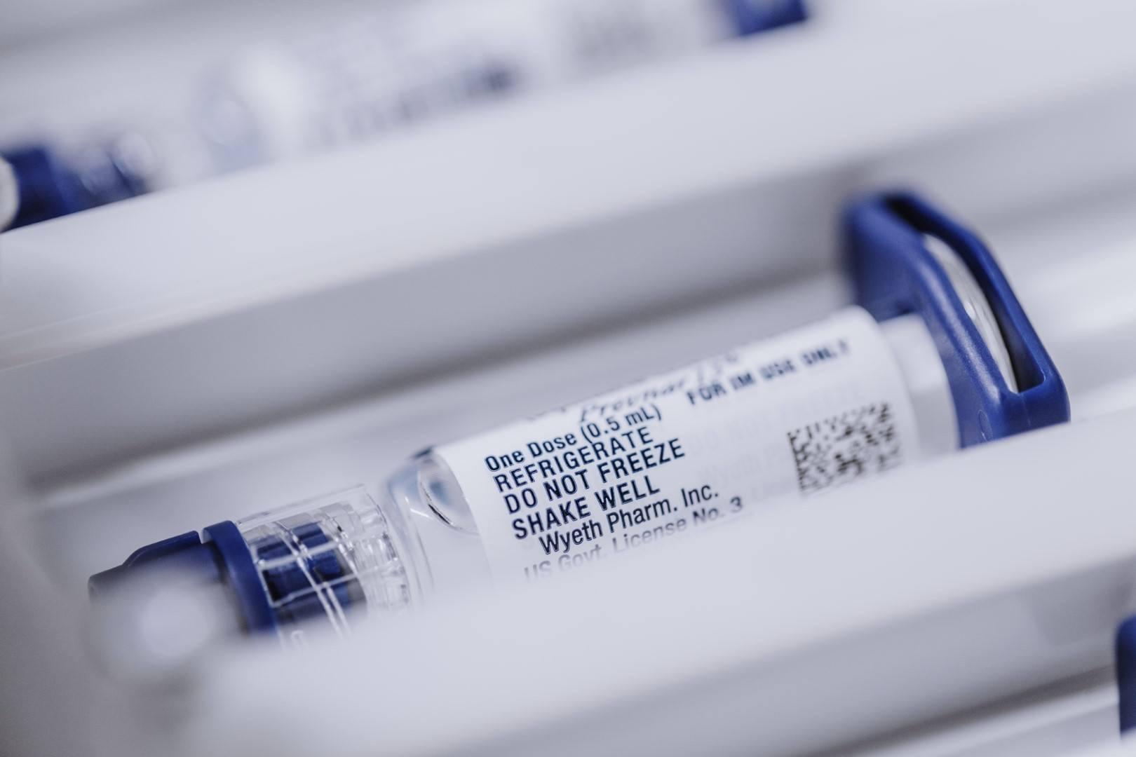 Vaccine vial in storage drawer
