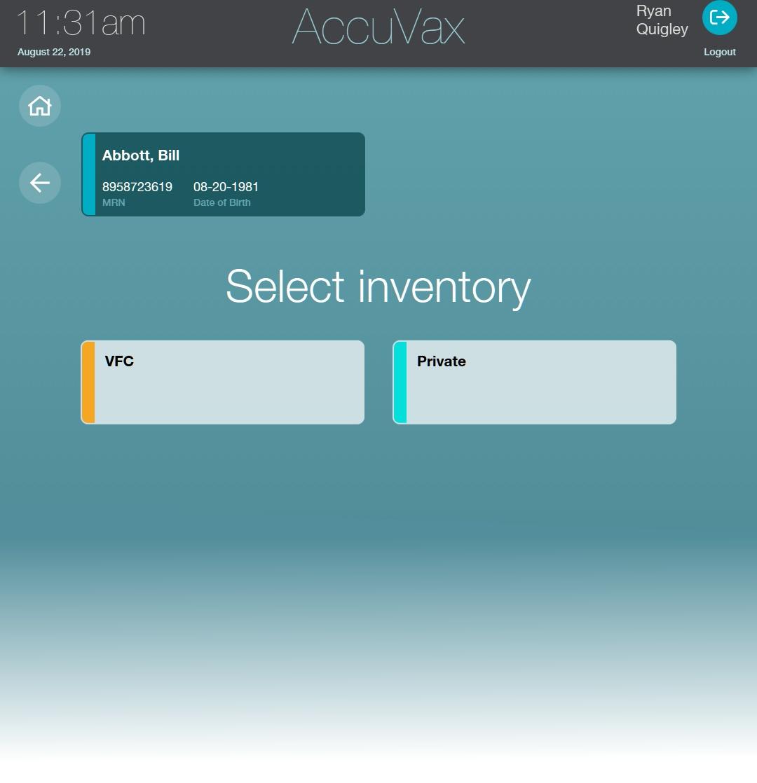 Accuvax VFC inventory screen
