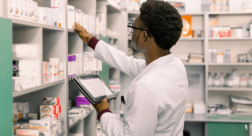 Man checking medical inventory