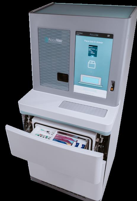 Accuvax machine with open vaccine storage drawer